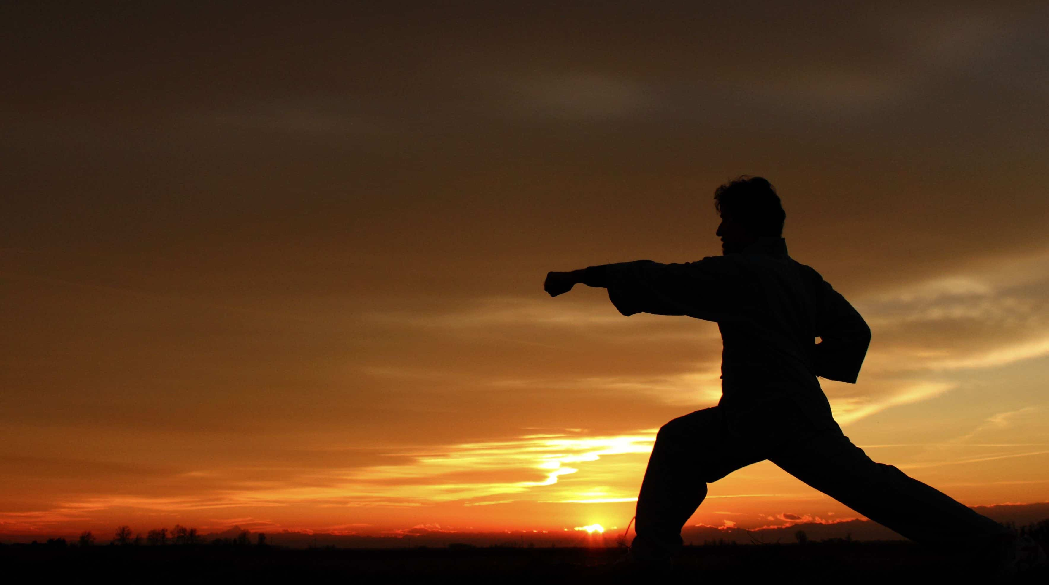 a siluet of a man who learns kungfu