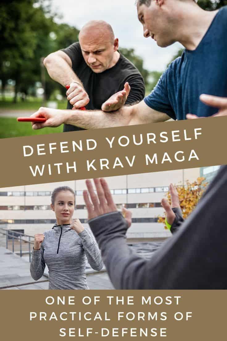 Man defending against a knife and woman against attacker using Krav Maga